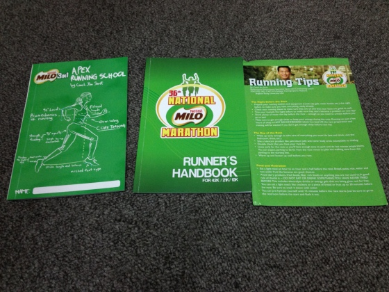 Booklets included in the Milo Marathon race kit